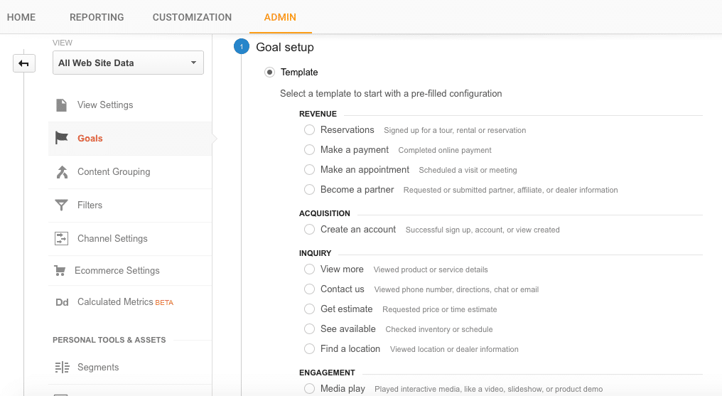 How to set up goals in google analytics