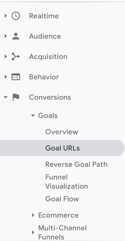 google analytics goals reporting screenshot