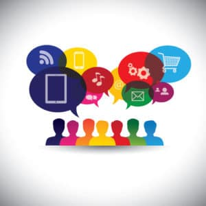 icons of consumers or users online in social media, shopping - v