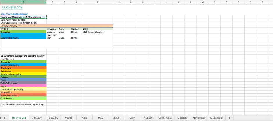 How To Create A Content Marketing Calendar FREE Template - Blog post schedule template
