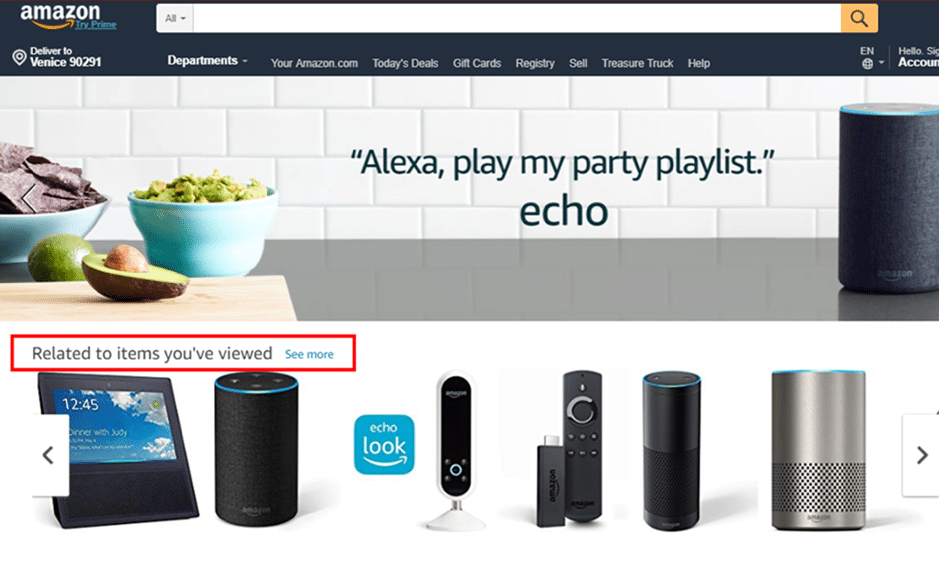 amazon personalized content example