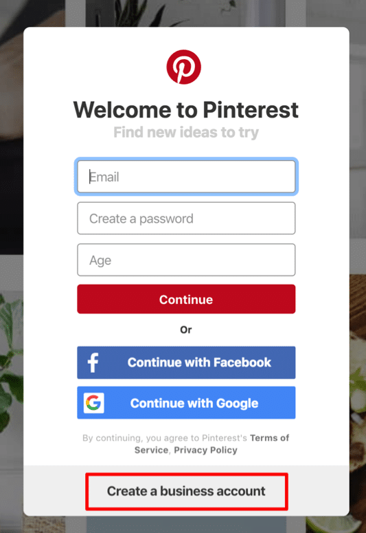 pinterest account setup screenshot