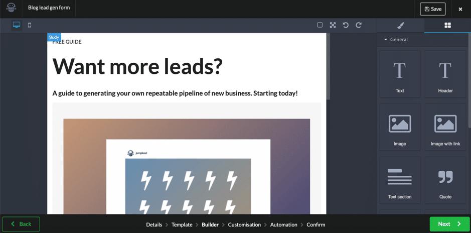 lead gen form jumplead screenshot