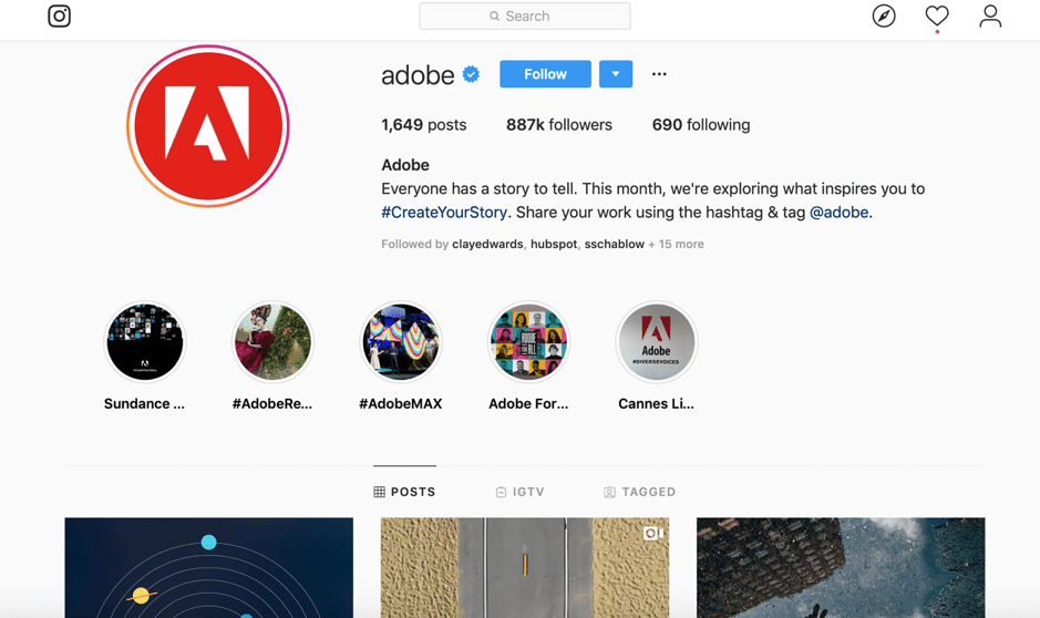 adobe instagram example