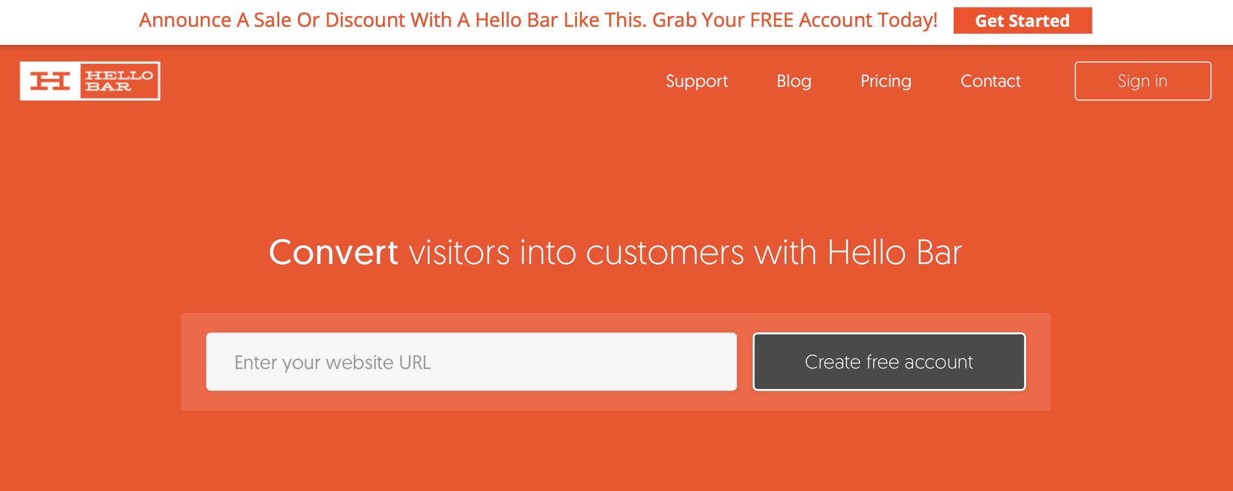 Hello bar screenshot