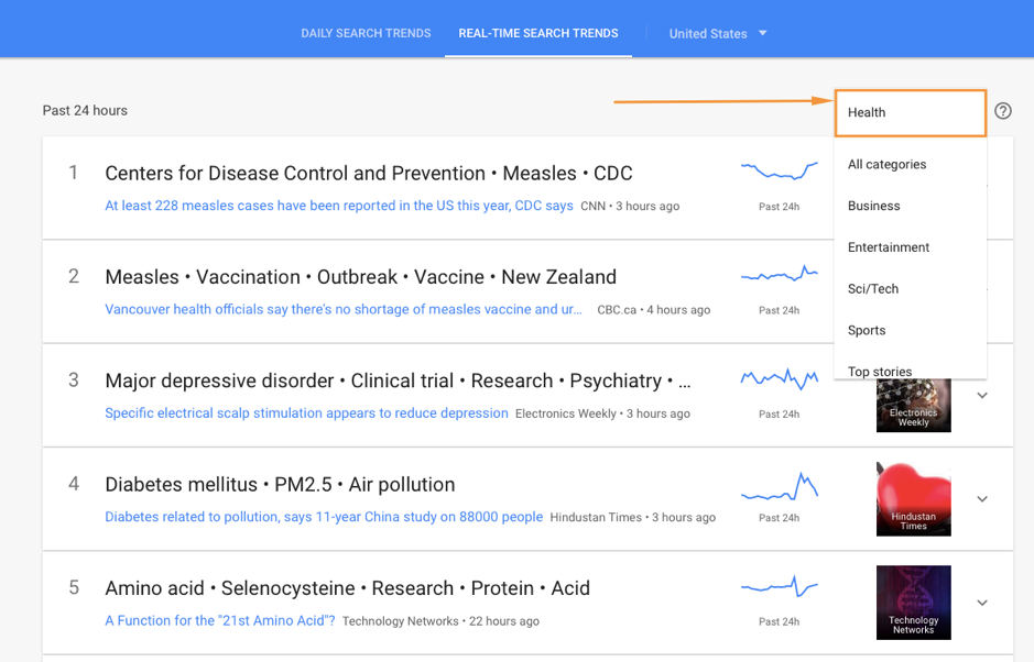 real time seacrh trends google trends screenshot