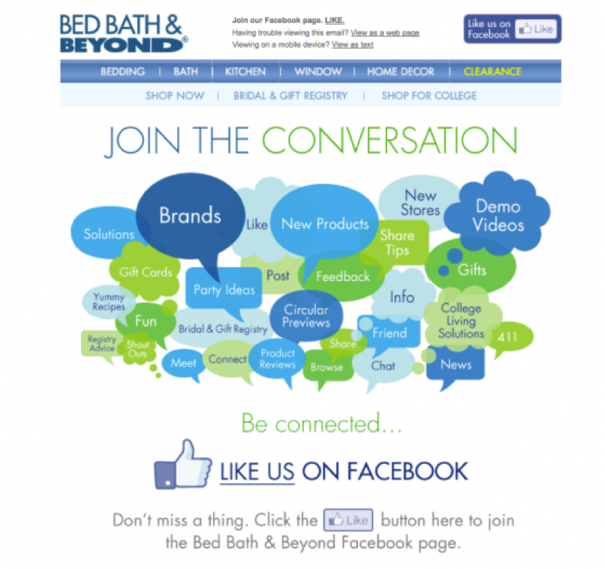 bed bath and beyond email nurturing example