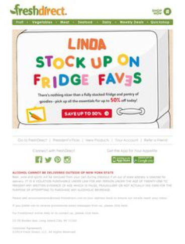 fresh direct email nurturing sequence example