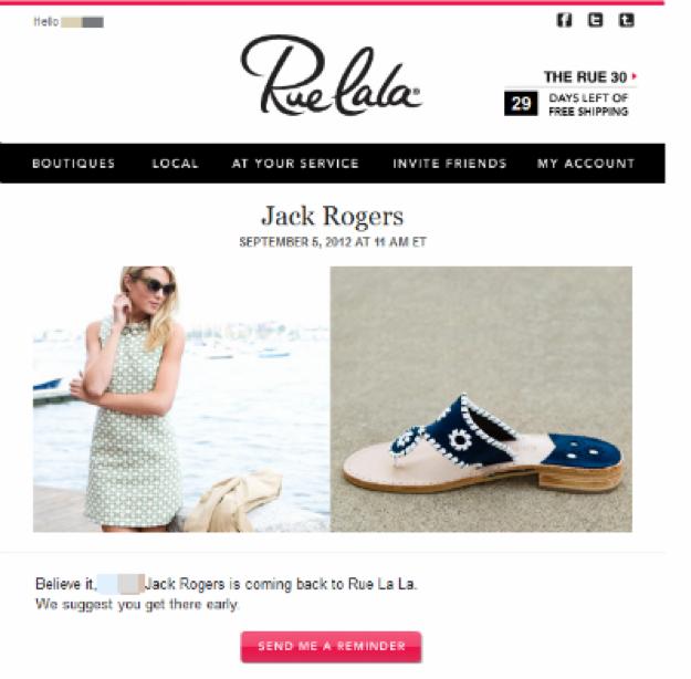rue la la email nurturing example