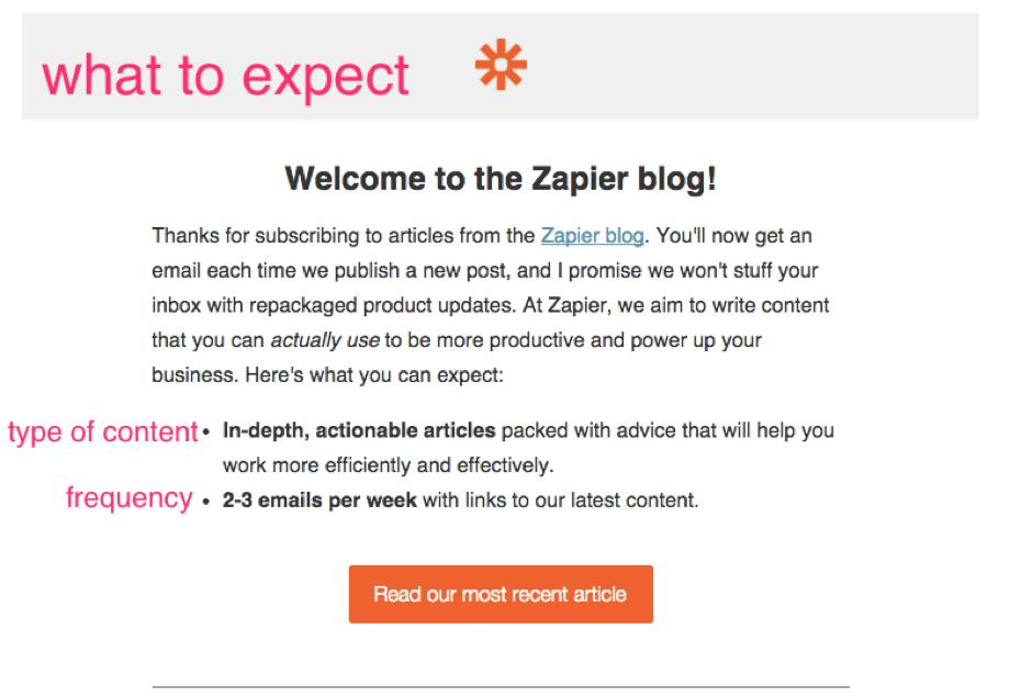 zapier email nurturing example