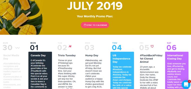 video marketing calendar