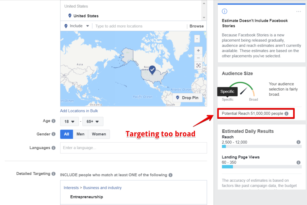 Broad targeting example for lead generation