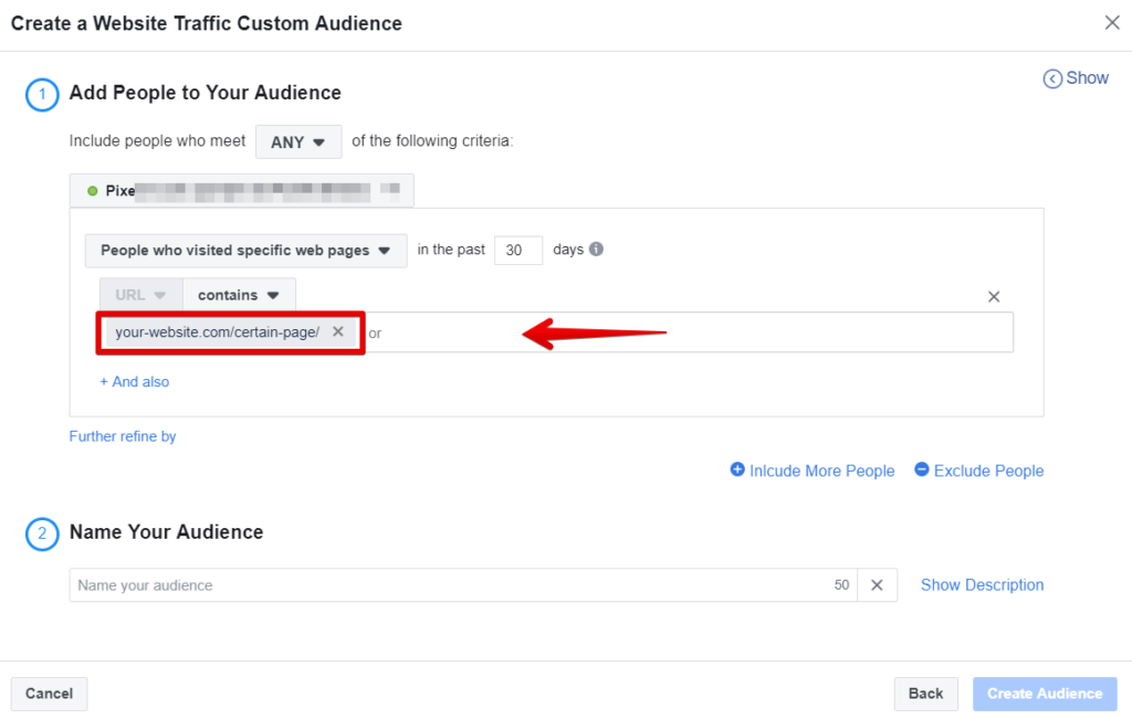 How to retarget visitors who visited only a specific page
