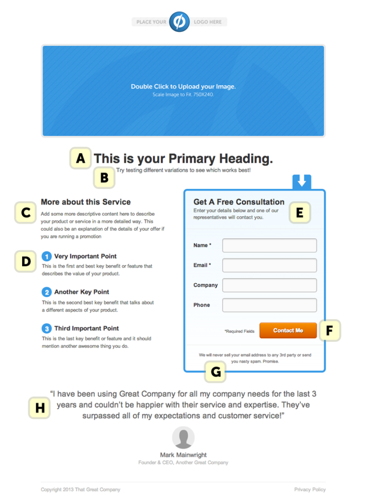 Lead generation landing page template example
