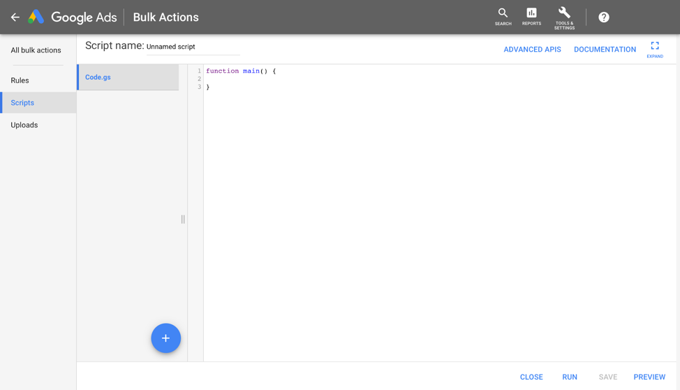 google adwords scripts screenshot