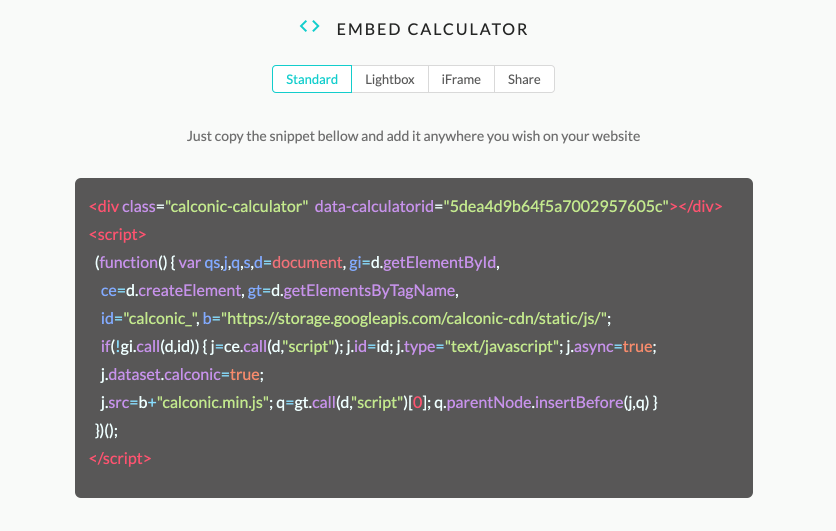 calconic calculator creation add to website code