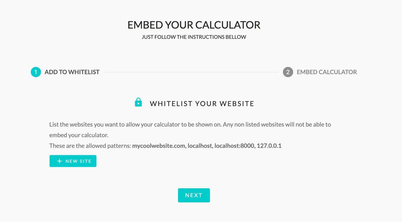 calconic calculator creation add to website