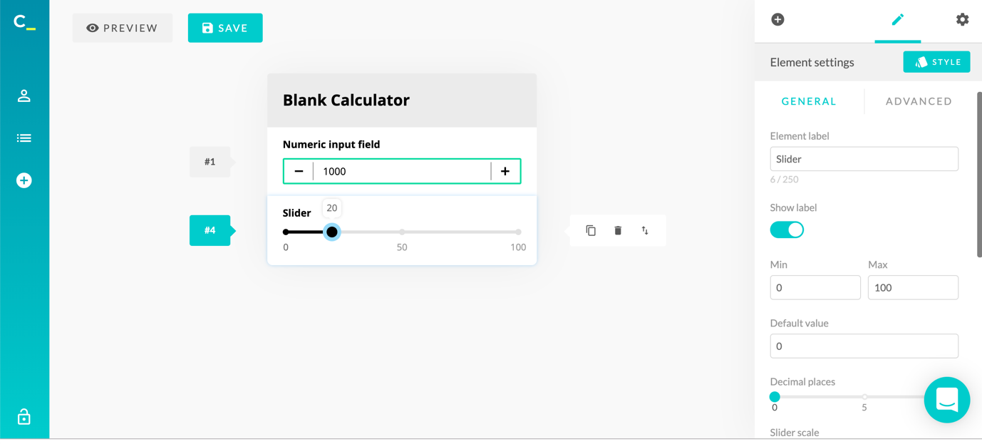 calconic calculator creation blank slider