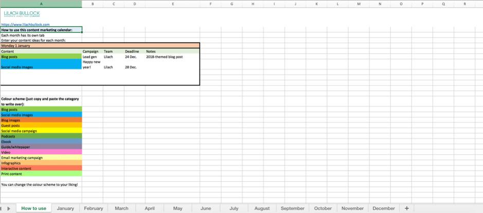 content marketing calendar template