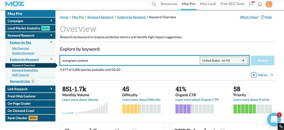 moz keyword research screenshot