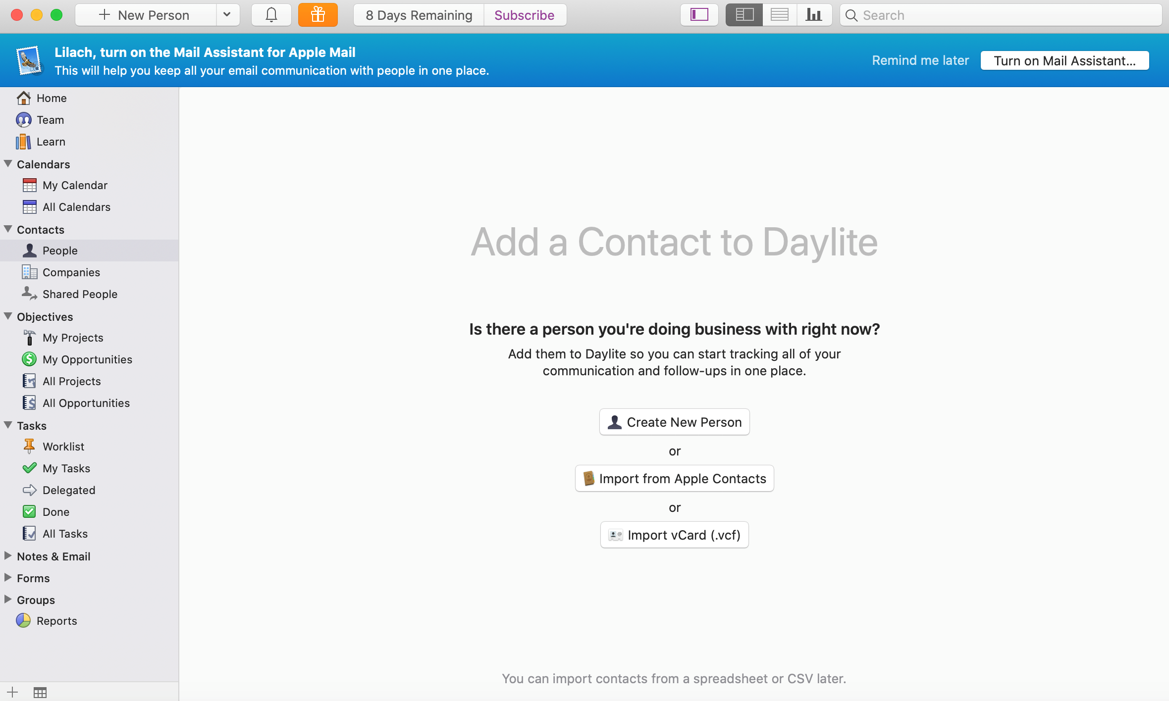 add a contact daylite