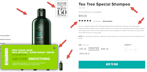 An example of a well set up ecommerce product page