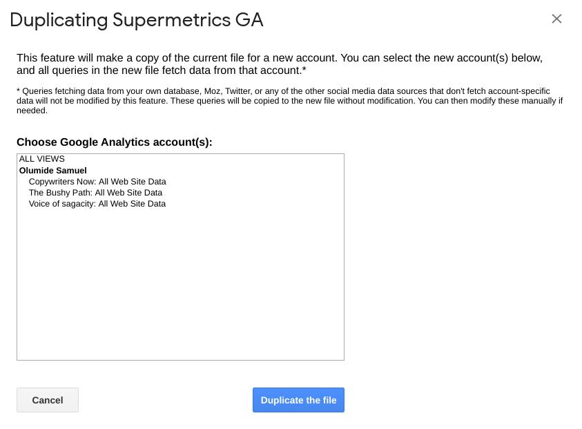supermetrics duplicating