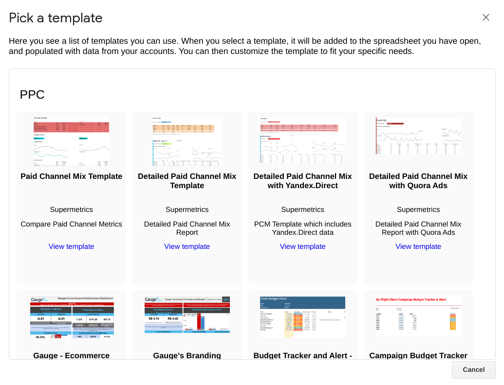 supermetrics pick a template