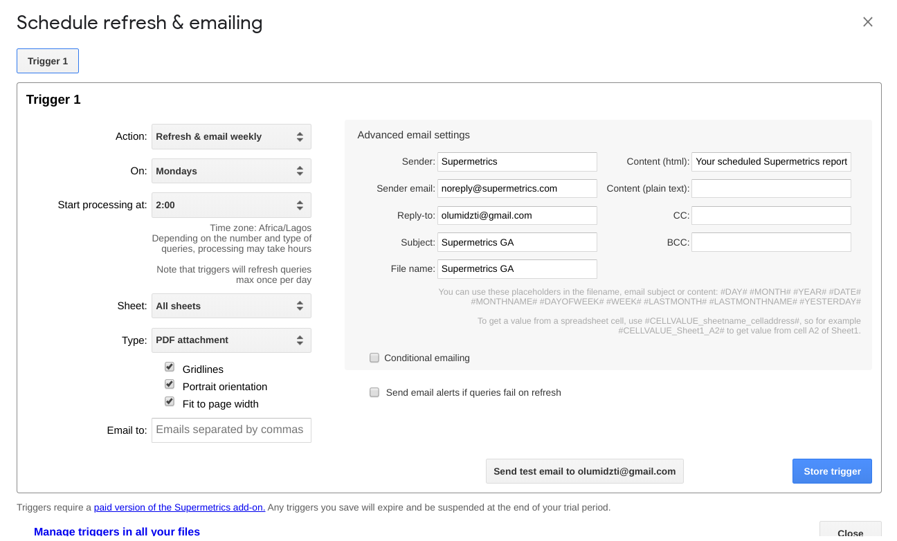 supermetrics schedule emails