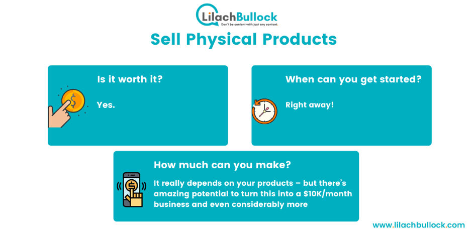 Making money blogging by selling physical products