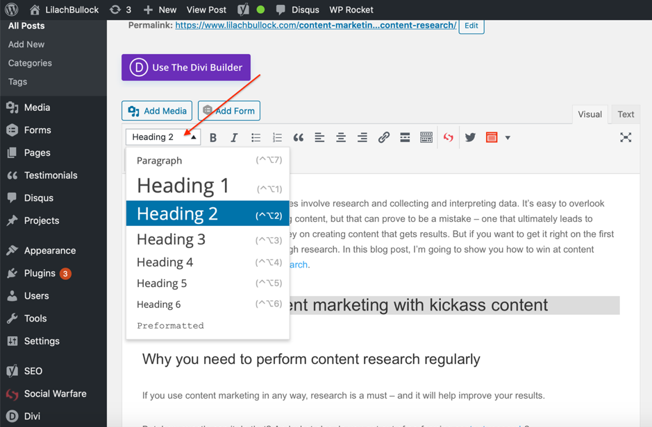 how to choose the correct headings in wordpress