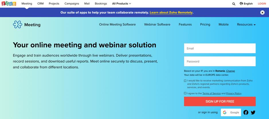 zoho screenshot webinar software