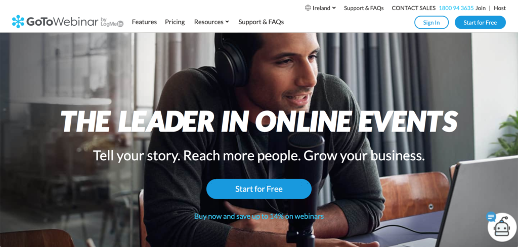GoToWebinar homepage screenshot