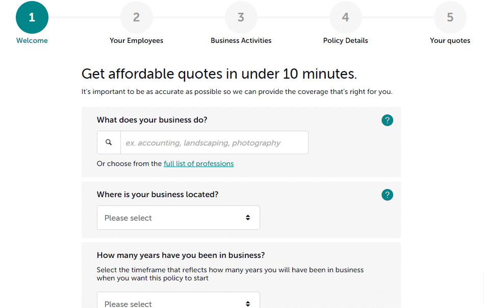 affordable quotes form