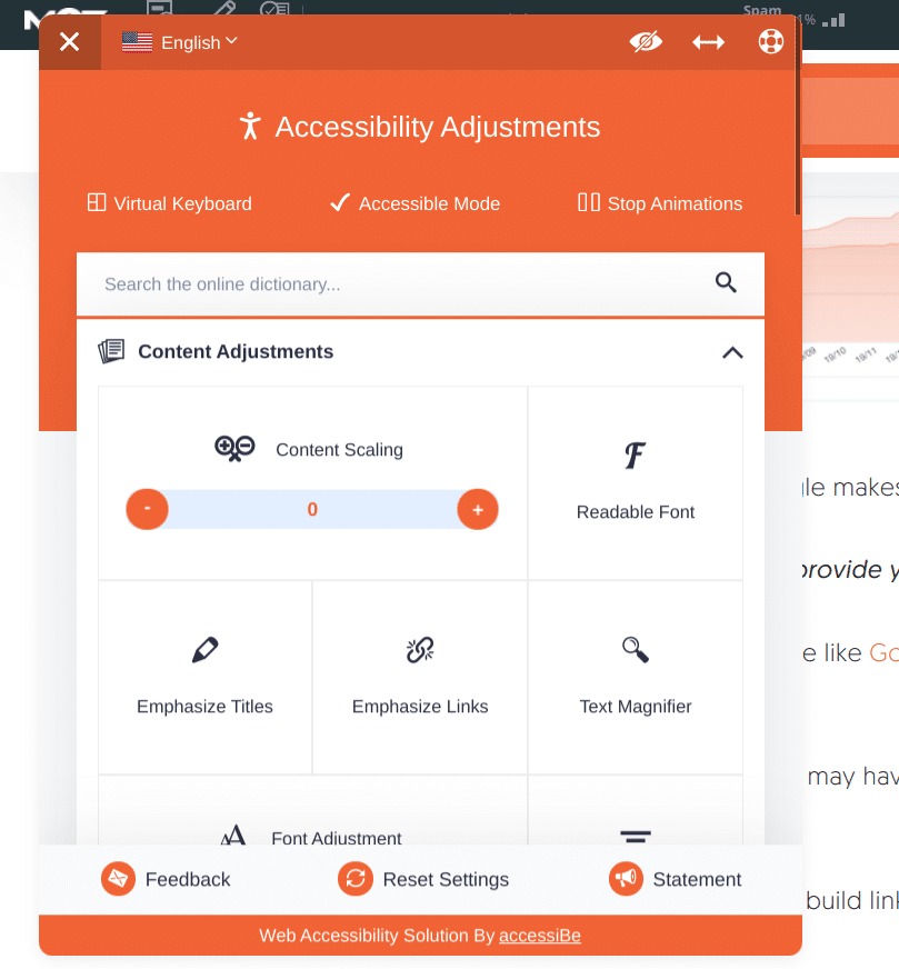 accessiBe accessibility adjustments