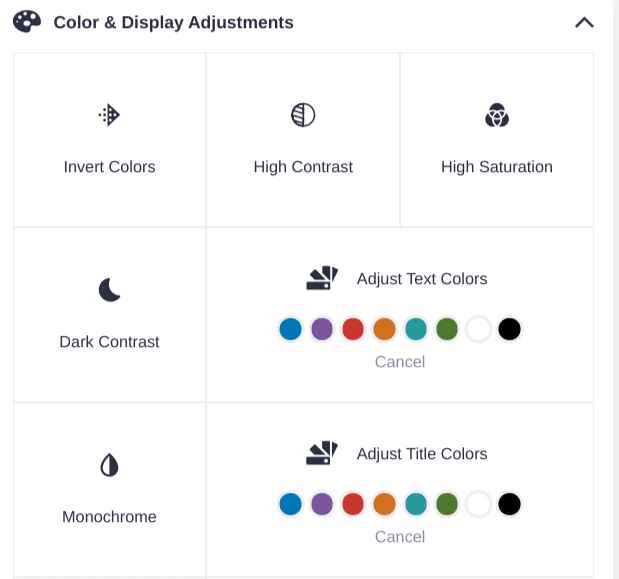 accessiBe page colors