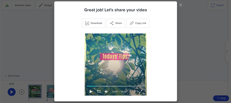 video export animoto screenshot